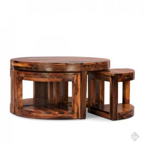 Twilla Coffee Table With Four Stools Walnut