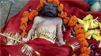 Newborn with an unusual combination of fair body and dark face becomes 'Maa Kali' for this village