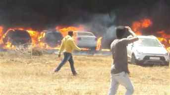 Nearly 300 cars gutted in fire near venue of Aero India show