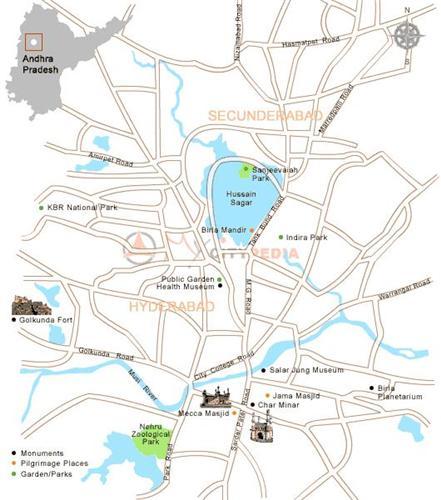 Tourist Map of Hyderabad