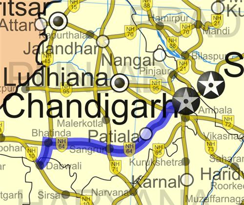 National Highway Number 64 of Chandigarh
