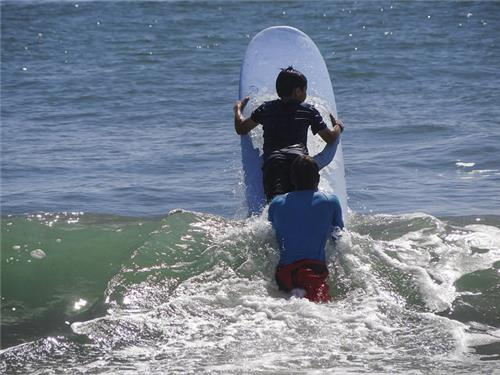Surfing in Covelong in Chennai