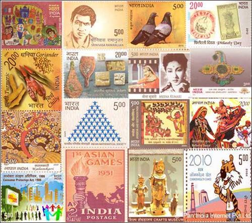 Varied types of Indian postage stamps