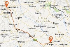 Road Map Delhi to Kanpur