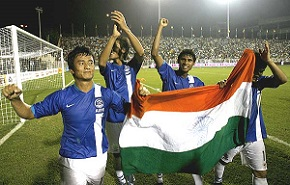 Scene of Indian Football Team Victory