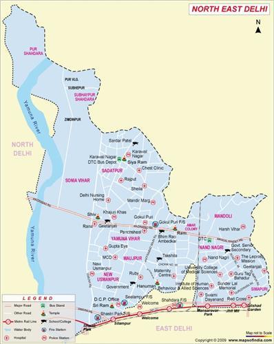North-East Delhi Map