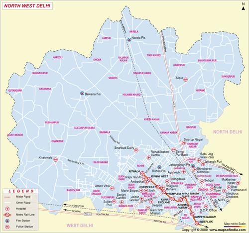 North-West Delhi Map