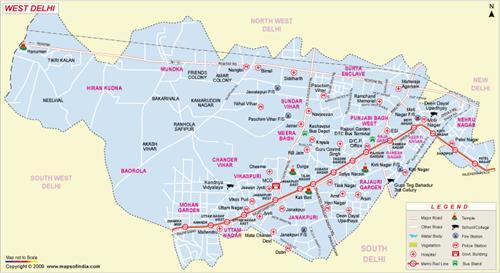Map of West Delhi