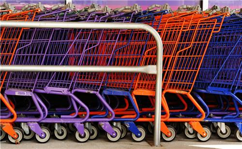 Carts Lined at the shopping Mall