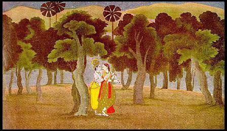 Kangra Painting Depicting Radha Krishna