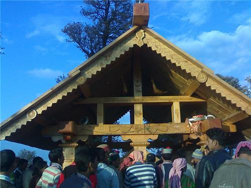 Outside the Mahadevi Tirth Mata Temple Kullu