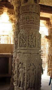 Wonderfully crafted pillars of Modhera Sun Temple in Mehsana