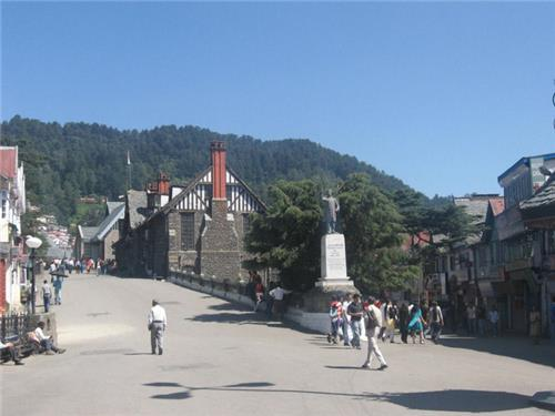 Walking on Mall road at Shimla for Heritage Sites