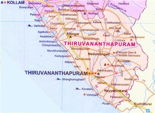 Aruvikkara Thiruvananthapuram Location