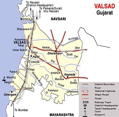 Distances from Valsad