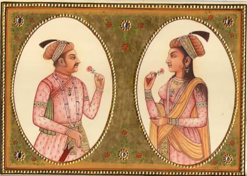 Emperor Jahangir and his wife Noor Jahan