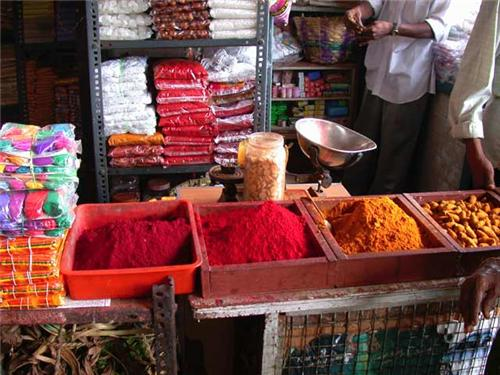 Spices in one of the shops of the Spice market in Chennai