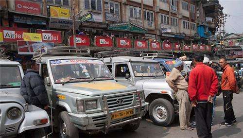 Taxi Stand at Chowk Bazar in Darjeeling