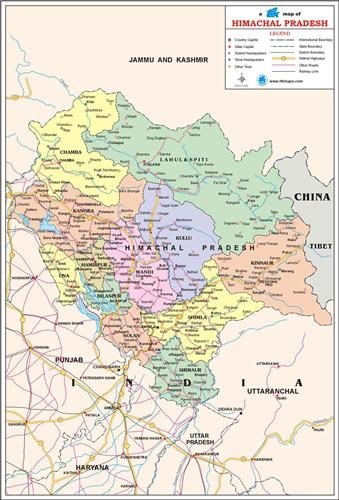 The Map of Hmachal Pradesh