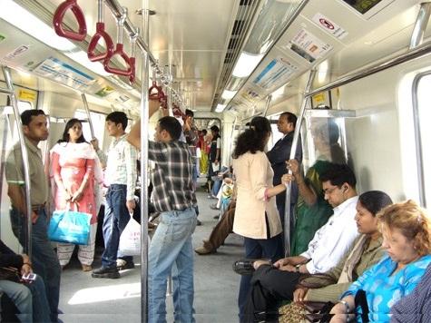 Inside a metro train