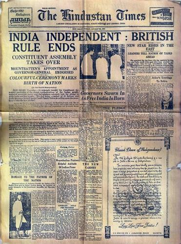 Indian Independence on Newspapers