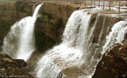 Dain Thlen Falls in Cherrapunjee, Meghalaya