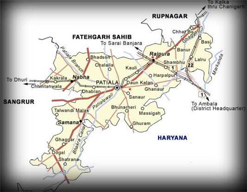 Patiala Map (Source: https://www.sikh-heritage.co.uk/heritage/Maharajas%20of%20Punjab/Mah%20Punj%20States.htm)
