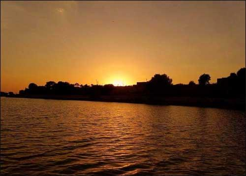 Sunset in Lakes in Rajasthan