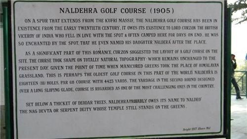History of Naldehra Golf Course, Shimla