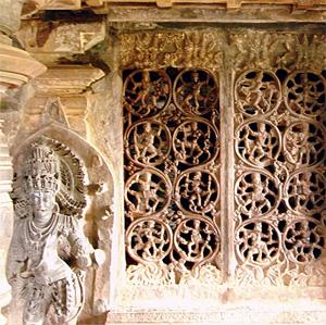 Perforated window pane at Tripurantaka Temple in Shimoga