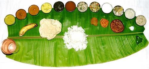 Tamil Food Served on Banana Leaf