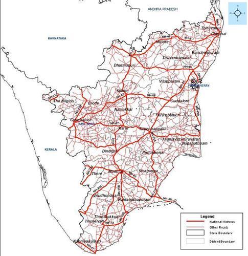 Map of Road Network Tamil Nadu