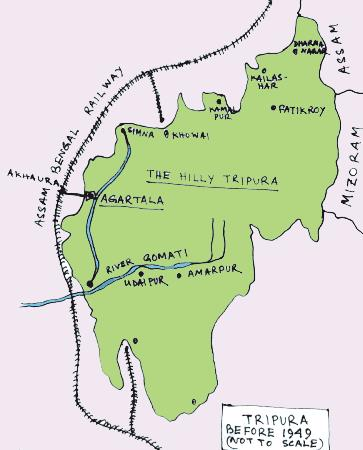 Tripura map before independence of India