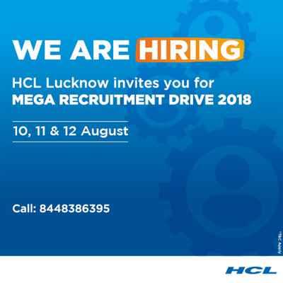 HCL Lucknow recruitment drive