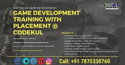 Online Unity Game development classes at CodeKul