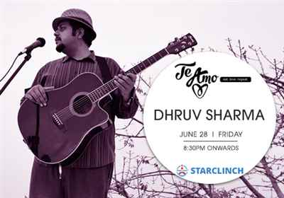 Dhruv Sharma will be live on 28th June at Te Amo Pub Ansal Plaza Delhi