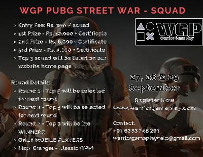pubg mobile online tournament WGP PUBG Street War Squad
