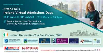 Attend Ireland Virtual Admissions Days from 1st June to 31st July 2020