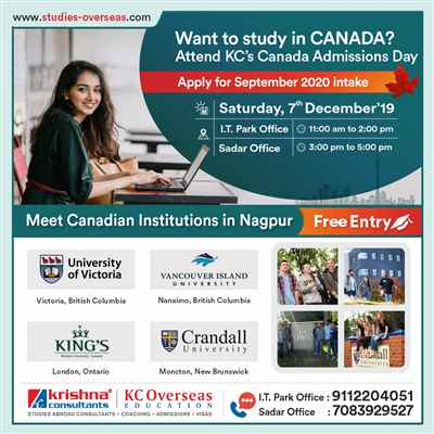 Attend Canada Admissions Day on Saturday 7th Dec 19 at KC Nagpur