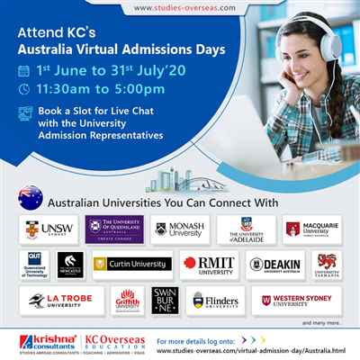 Attend Australia Virtual Admissions Day from 1st June to 31st July 20