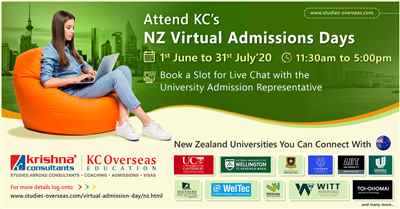Attend New Zealand Virtual Admissions Days from 1st June to 31st July 20