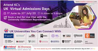 Attend UK Virtual Admissions Day from 1st June to 31st July 2020