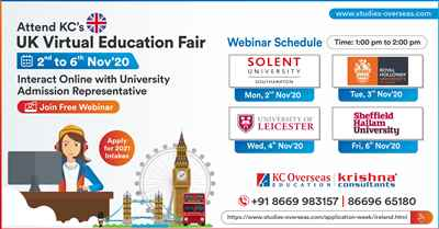 Attend UK Virtual Education Fair from 2nd to 6th Nov 20