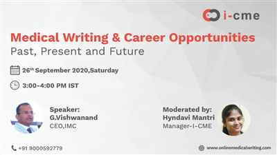 Webinar on Medical Writing Career Opportunities Past Present Future