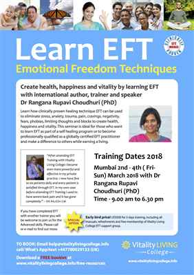 Emotional Freedom Techniques EFT Mumbai March 2018 with Dr Rangana Rupavi Choudhuri PhD