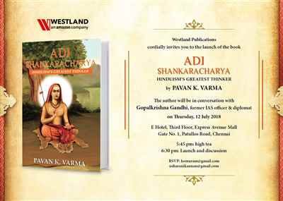 Author Diplomat Pavan K Varma launches his book Adi Shankaracharya in Chennai