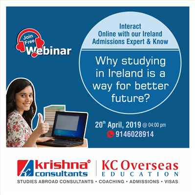 Join Free Webinar on Study in Ireland Thursday 25th April 2019