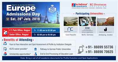Europe Admissions Day on Saturday 20th July 2019 at Krishna Consultants