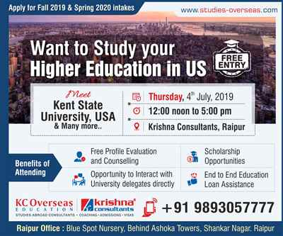 Meet Kent State University USA at Krishna Consultants Raipur 4th July 2019