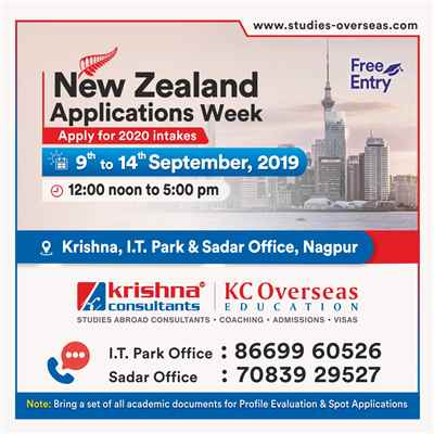Attend New Zealand Applications Week at Krishna Consultants Nagpur 9th to 14th Sept 19